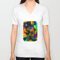 kandinsky V-neck T-shirts featuring Child's Play by Klara Acel