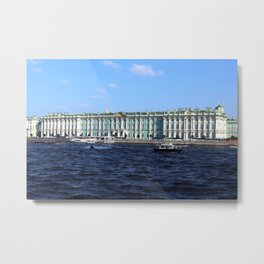 The facade of the Winter Palace. Embankment of the Neva River. Hermitage Museum. St. Petersburg. Metal Print