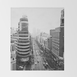 Gran Via in Madrid Throw Blanket