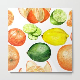 Watercolor citruses Metal Print
