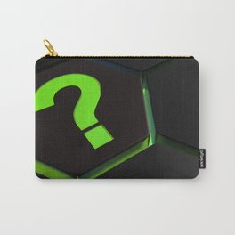 Green question mark on hexagons - 3D rendering Carry-All Pouch