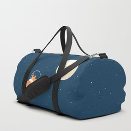 Fly to the moon _ navy blue version Duffle Bag