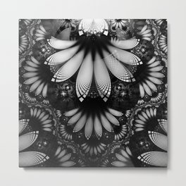 Shikoba Fractal -- Glittering Black and White Feathers in the Night Metal Print