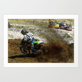 Round the Bend - Dirt-Bike Racing Art Print