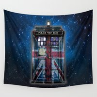 union jack Wall Tapestries featuring Tardis doctor who with Union jack paint  by Three Second