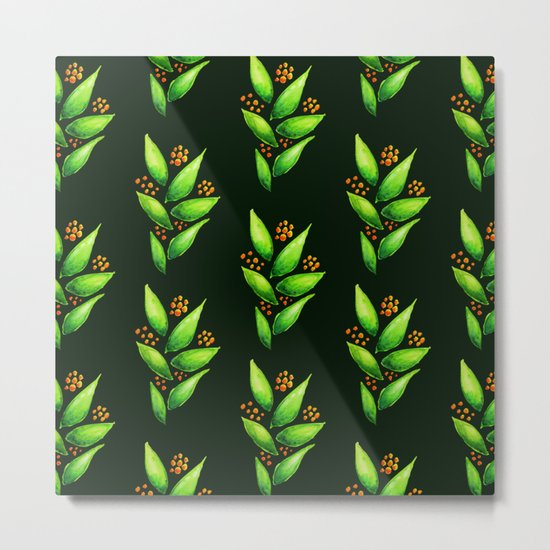 Abstract Watercolor Green Plant With Orange Berries Metal Print