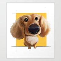 dachshund Art Prints featuring dachshund by joearc
