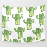 cacti Wall Tapestries featuring cacti by kristinesarleyart