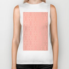 Simply Mid-Century in White Gold Sands on Salmon Pink Biker Tank