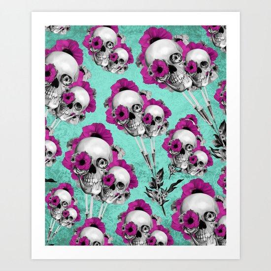 Evolution of poppies, skull pattern.  Art Print