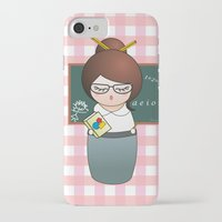 teacher iPhone & iPod Cases featuring Kokeshi Teacher  by Pendientera