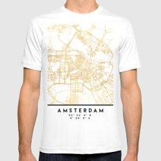 AMSTERDAM NETHERLANDS CITY STREET MAP ART MEDIUM Mens Fitted Tee White