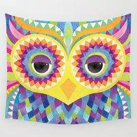 rave Wall Tapestries featuring Rave the Owl by Shanti Sparrow