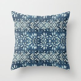 Vintage indigo inspired  flowers and lines Throw Pillow