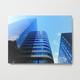 Building Blocks - blue tower cityscape Metal Print