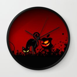 NIGHTMARE CAT WITH APPLE Wall Clock