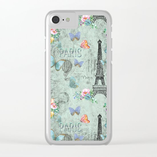 Paris - my love - France Eiffeltower Nostalgy- French Vintage on #Society6 Clear iPhone Case