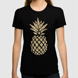 Gold Glitter Pineapple T-shirt