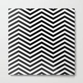 Chevron black white Metal Print
