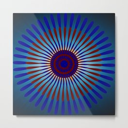 Mandala Sunrise in Maroon and Blue Metal Print