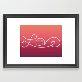 Love calligraphy print - Sunset gradient with white print Framed Art Print