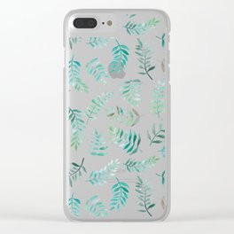Fern Leaf Repeat Print Clear iPhone Case