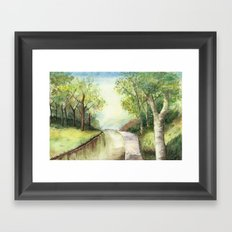 Trees by the canal Framed Art Print