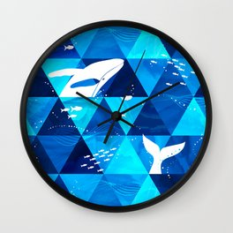 Blue Whale Jumping Wall Clock