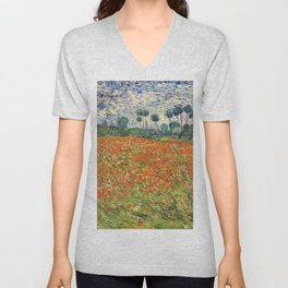 Poppy Field by Vincent van Gogh, 1890 painting Unisex V-Neck