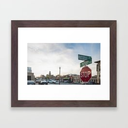 A Street Intersection in Denton, Texas Framed Art Print