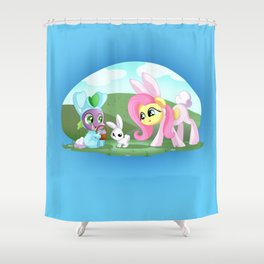 Spike,Angel and Fluttershy Shower Curtain