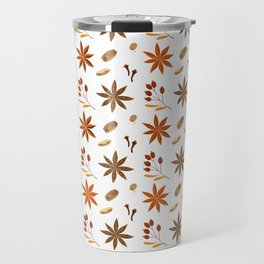 Winter brown orange berries floral illustration Travel Mug