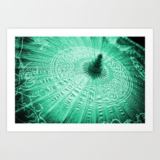 Jade Green Silk Chinese umbrella Art Print
