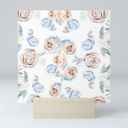 Rose Pattern - Fall Colors on White Mini Art Print
