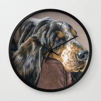 the hound Wall Clocks featuring Hound Dog by Sarahphim Art