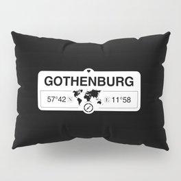 Gothenburg Västergötland with World Map GPS Coordinates Pillow Sham