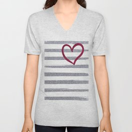 Red Heart on Shiny Silver Stripes Unisex V-Neck