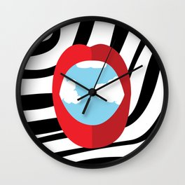 Abstract Lips and Sky Wall Clock