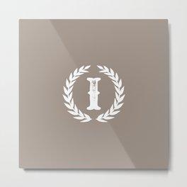 Beige Monogram: Letter I Metal Print