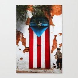 PUERTO RICO FLAG DOOR Canvas Print