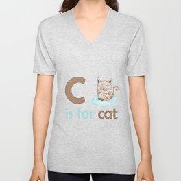 c is for cat, children alphabet for kids room and nursery Unisex V-Neck