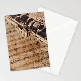 Clarinet musical note background Stationery Cards