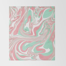Elegant pink green abstract watercolor marble Throw Blanket