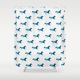 blue horse pattern Shower Curtain