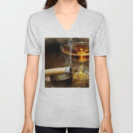 Cigar And Cordial Painting Cigars Unisex V-Neck