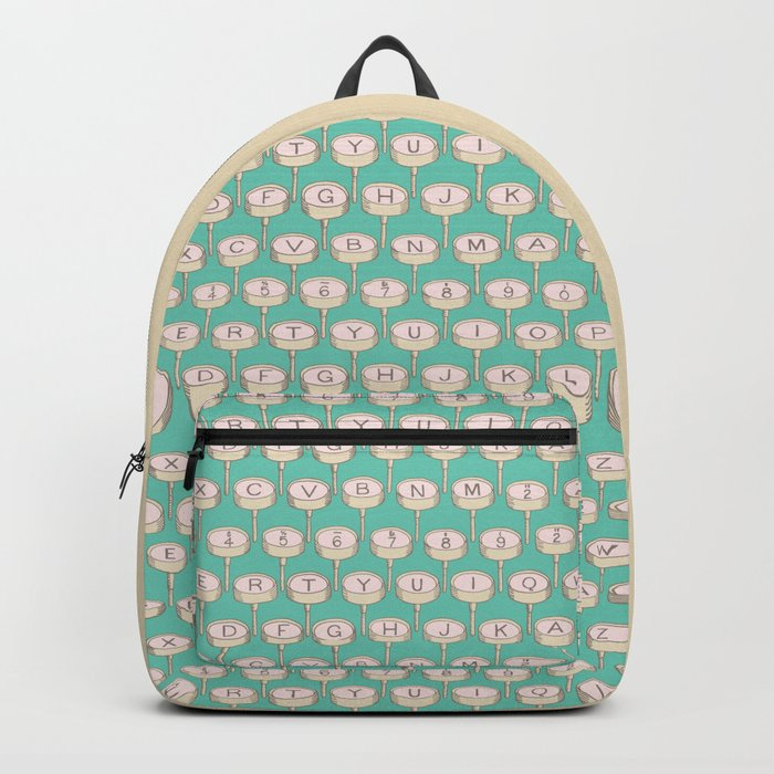 Infinite Typewriter_Green and Pink Backpack
