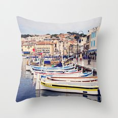 Boats in Cassis Harbor Throw Pillow