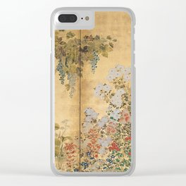 Japanese Edo Period Six-Panel Gold Leaf Screen - Spring and Autumn Flowers Clear iPhone Case