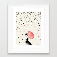 umbrella Framed Art Prints featuring Polka Rain by Karen Hofstetter