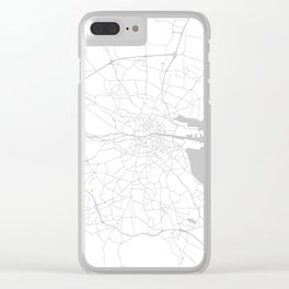 White on Light Grey Dublin Street Map Clear iPhone Case